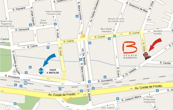 Mapa de acesso via estação do metrô Vila Matilde